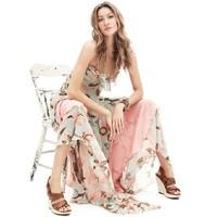 New Lady Bohemian Irregular Beach Spaghetti Slip Dress Flouncing Tiered Floral Print 2014 Women Casual Summer Dresses S~XL