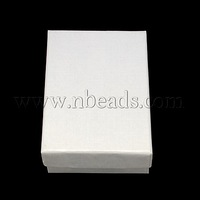 promo beads Cardboard Jewelry Boxes,  White,  90x65x28mm