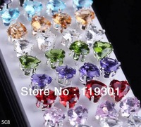 20PAIRS 40pcs Fashion Big Heart Jewelry Crystal Ear Stud 925 Sterling Silver Charms Earring Wholesale Hot Sale SC8