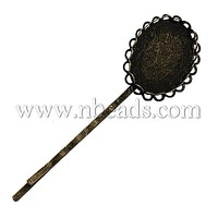 Iron Hair Bobby Pins,  with Brass Oval Tray,  Antique Bronze,  Size: about 18.3mm wide,  72.7mm long,  Tray Size: 18mm wide