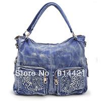 Free shipping-2014 hot! denim female bag ,women's hot drill denim shoulder bag/women's brand designer shoulder bag