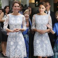 Kate Dress Women's Dress Middleton Princess Kate Fashion OL Slim White Lace Dress Casual Dress