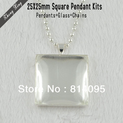 Square Pendant Kits:25x25mm Silver Plated Square Pendant Trays + Matching Glass Cabochons + 27.5 Inches Ball Chain necklaces(China (Mainland))