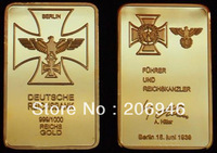 Fedex/ DHL free shipping whosale 500pcs/lot Newest design 999/1000 gold plated german empire bank bar,bullion bar