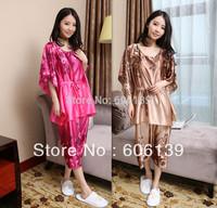 Korea  edition emulation silk pajamas,  leisure two-piece set of head round collar short sleeve women pajamas suit