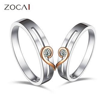 ZOCAI Love природных 0.08 КТ H / SI DIAMOND его и ее обручальное кольцо Кольца Комплекты 18K БЕЛАЯ РОЗА DUAL цветного золота