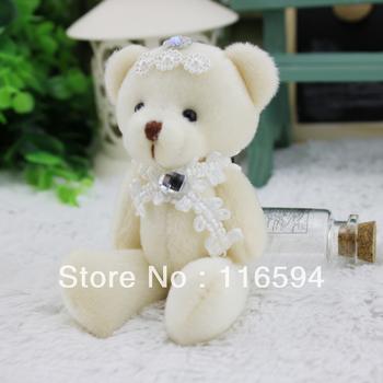 Y21 free shipping 12pcs/lot wholesale 12cm 5'' plum flower bouquet diamond teddy bear doll toys accessories cartoon bear lace