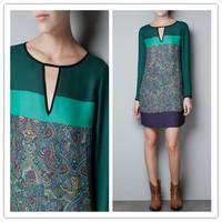 Fashion Women Retro Sexy Long Sleeve O- Neck Print Flower Patchwork Green Chiffon Dress DP651201