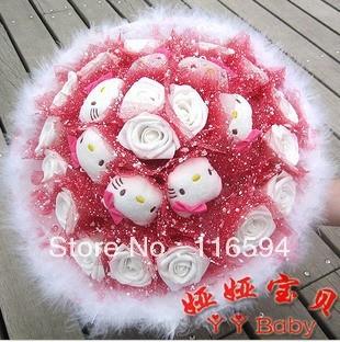 Y23 cartoon hello kitty bouquet plush toy bouquet 18 flowers+7 hello kitty Valentine's Day gift wedding anniversary