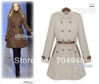 New Designed Women's Popular Woolen Trench Coat Lady  Fashion Celebrity Double-breasted Winter Uniform Style Overcoat Jacket