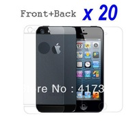 Free Shipping 20pcs/lot LCD Clear Front and Back Screen Protector Film Cleaning Cloth For iPhone 5 5G 5th