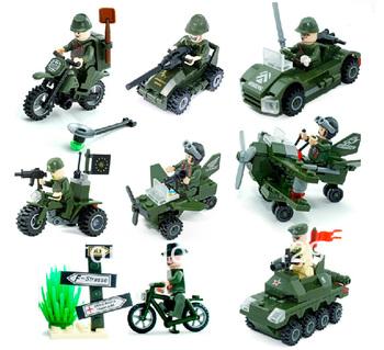 Army Mini Figure 8 pcs/lot Enlighten Children Educational Building Blocks 3D DIY building bricks toys Free shipping
