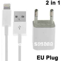 2 in 1 (EU Plug Home Charger, USB Cable) Travel Kit for iPhone 5, iTouch 5 Cable adapter Travel Kit(China (Mainland))