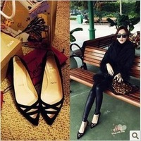 2013 red sole shoes single shoes black pointed toe cutout with the women's shoes
