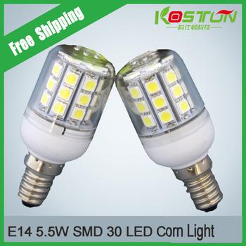 4X 5.5W E14   5050 30 LEDs  LED Bulb 220V 450LM Warm White/White LED Lamp Spotlight Ultra Bright Energy Saving