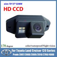 Free shipping HD CCD night vision Car rear view camera for Toyota Land Cruiser 120 Series Prado 2007 2008 2009 2010 2700 4000