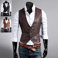 Hitz simple wild Slim casual men's leather vest 3 color 3 size 124004