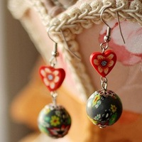 High Quality  Fashion Vintage Polymer Clay Beads Pendant ,Drop Earrings Fashion Ethnic Jewelry Wholesale Free Shipping