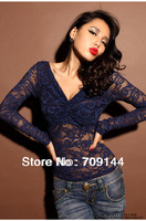 New 2014 Summer Fashion See-Thru Chiffon Lace Sexy V-neck Long-sleeves Cropped Shirt Blouses blusas for Women Tops White Blue