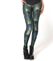 EAST KNITTING BL-013 leggings Fashion Shiny BLACK Milk Leggings Women Clothing 2013 New PEACOCK LEGGINGS Digital Print Pants