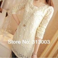 Free shipping!2013 Autumn Women's Top Slim Pearl lace Shirt long sleeve t shirt