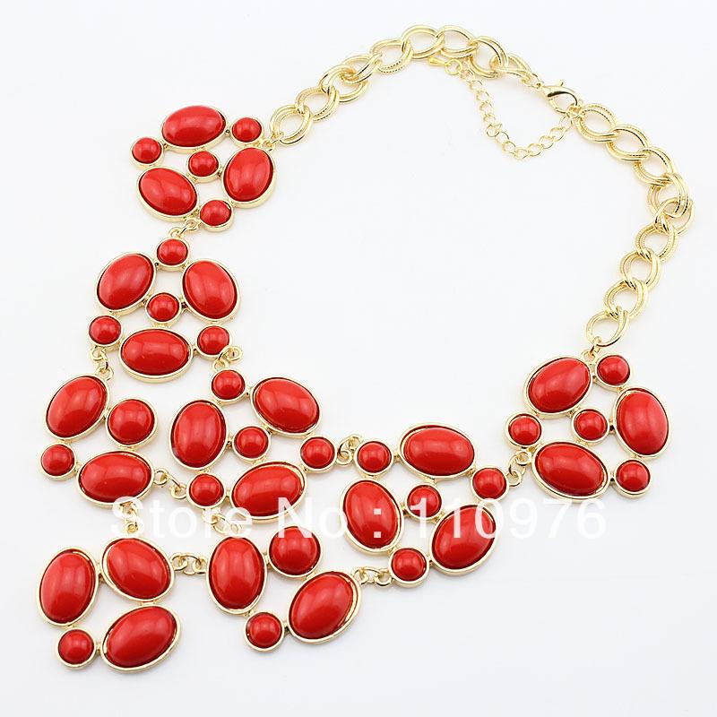SN13032329 Fashion Bib Necklace Bubble Necklace Gold Choker Collar red New Fashion style(China (Mainland))