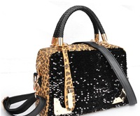 Free shipping 2013 spring  casual fashionable women's handbag leopard print paillette bag one shoulder handbag  H072