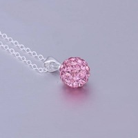 Shamballa necklace pendant jewelry Wholesale Free Shipping New Shambala Crystal Necklace Pendants Micro Pave CZ Disco Ball N025