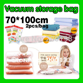 Hot Selling!!!  2pieces/bag/lot 70*100cm High Quality Eco-Friendly and Folding Storage Vacuum Compressed Bag