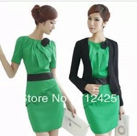 Free Shipping Fashion women's  spring one-piece dress suit jacket ol elegant work wear