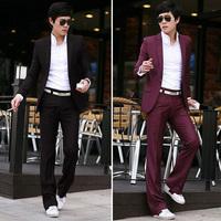 new fashion man fashion elegant male blazer set suit western-style trousers male ( Suit + pants )
