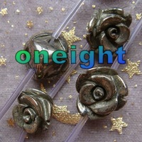 Free Shipping Natural Carved Pyrite Rose Loose Beads 14mm For Jewelry Making 26pcs/lot 1string=13pcs wholesale