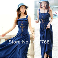 FREESHIPPING Bohemia style full  beach  strap rope one-piece fitting dress B-D-0825