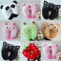 New Fashion Cute Cartoon Tiger Cat Pig Bear Pattern U shape Neck Pillow Travel car home Pillow Wholesale retail