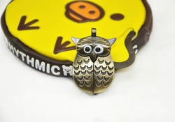 wholesale New cartoon vintage owl necklace pendent watch, bronze bird pocket clock best gift for children20pcs(China (Mainland))
