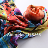 female silk watercolor scarf