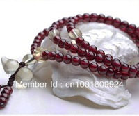 Free shipping 4mm 100% cotton men's underwear,Natural garnet 108 beads, crystal bracelet beauty to raise colour stone