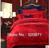 Luxury Big red Satin King and Queen home textile bedlinen 4 pcs /6pcs Cotton 100% cotton wedding bedding sets