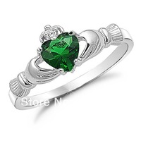 Size 6,7,8,9 Claddagh  Women Jewelry Green Emerald 10KT White Gold Filled Ring Gift for love, friendship, loyalty