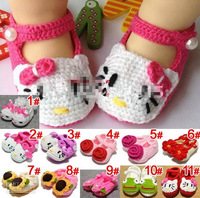 2014 flower girl  Crochet Baby Toddler Shoes Baby Girl Crochet Knit Flower Sandals Infant Hello Kitty Shoe Free Shipping