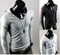 2013 free shipping Mens Slim Hoody Stylish Casual T-Shirt Long Sleeve Shirts TEE TOP Dark Greys/Black/White/Light Greys 5959