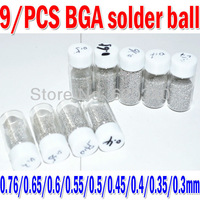 9 bottles / set  0.76/0.65/0.6/0.55/0.5/0.45/0.4/0.35/0.3mm BGA solder ball leaded (25,000Pcs/Bottle) For BGA Rework Repair