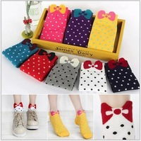 Free shipping Korea style cute bow knot boat socks, candy-colored dots tube socks