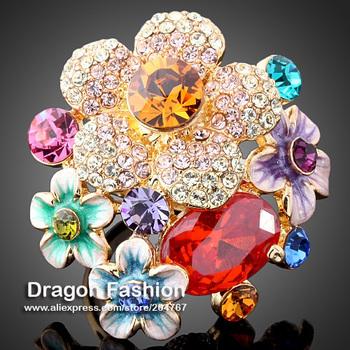 Горный хрусталь австрийцы имитаци кристаллы имитация алмазный рубин драгоценный камень цветок мода кольцо ювелирные изделия для женщин бесплатная доставка