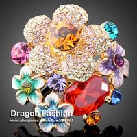 Rhinestone Austrians Crystals Imitation Diamond Ruby Red Gemstone Flower Fashion Ring Jewelry for Women Free Shipping