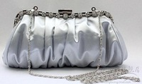 2014 new style Brief diamond pleated silks and satins bag bridal bag bridesmaid bag wedding bag marry bag 3654