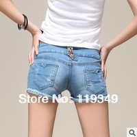 Spring 2014 women's all-match check straight denim shorts denim jeans-shorts female