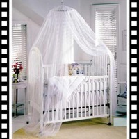 Free Shipping Baby Mosquito Net Baby Toddler Bed Crib Canopy Netting White