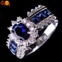 Size6/7/8/10  jewelry Brand new sapphire  man's and  lady's 10KT white Gold Filled Ring   1pc freeshipping