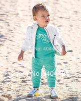 238# Free shipment  5sets /lot boy suit 3pc Long sleeve Coat T Shirt+ Long Pants children Wear free shipping